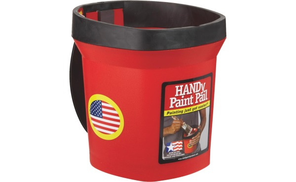 HANDy Paint Pail 1 Qt. Red Painter's Bucket w\/Adjustable Strap And Magnetic Brush Holder
